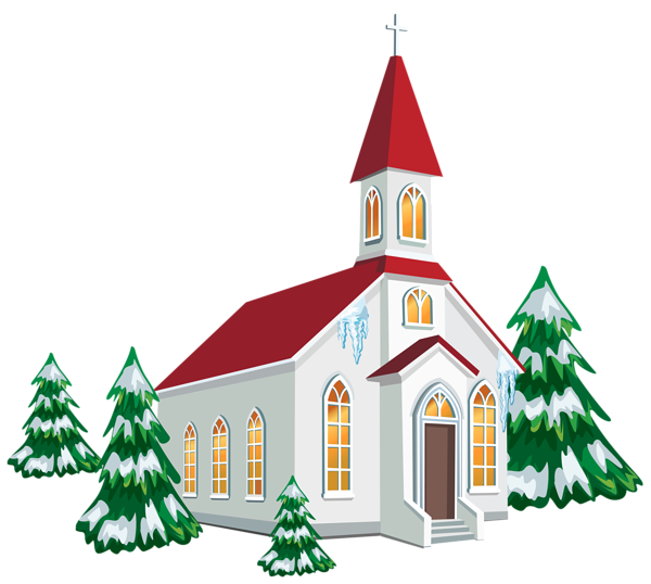 Winter Church with Snow Trees PNG Clipart Image.
