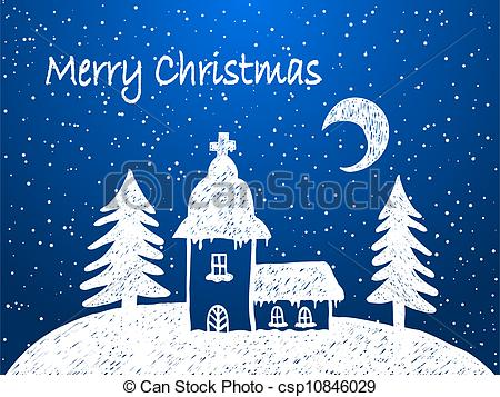 Vector Illustration of Christmas church with snow at night.