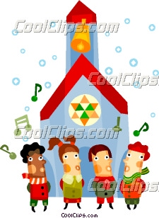 Children singing Christmas carols at church Clip Art.