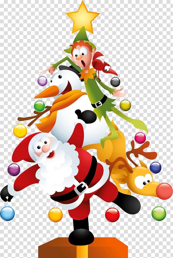 Santa Claus Christmas tree Christmas Day , Funny Christmas.