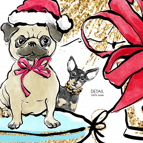 Christmas Dogs Clipart.