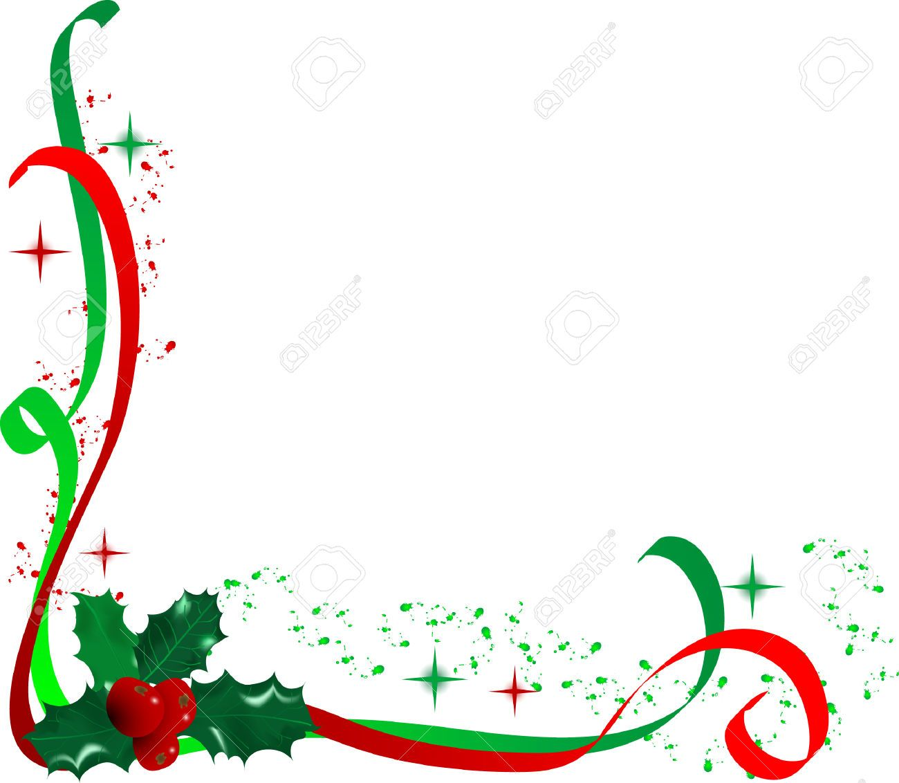 Christmas Holly Corner Border Clip Art.