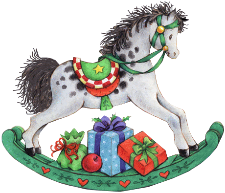 rocking horse with presents.
