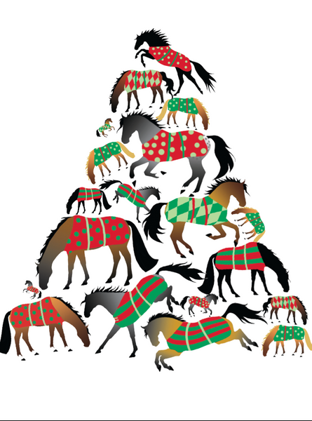 BOXED Christmas Cards: A Christmas Tree of Blanketed Horses.