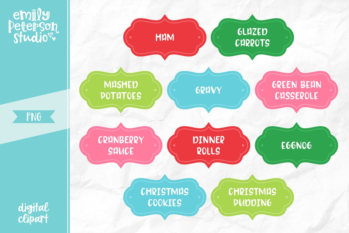 Christmas Dinner Labels Clipart.
