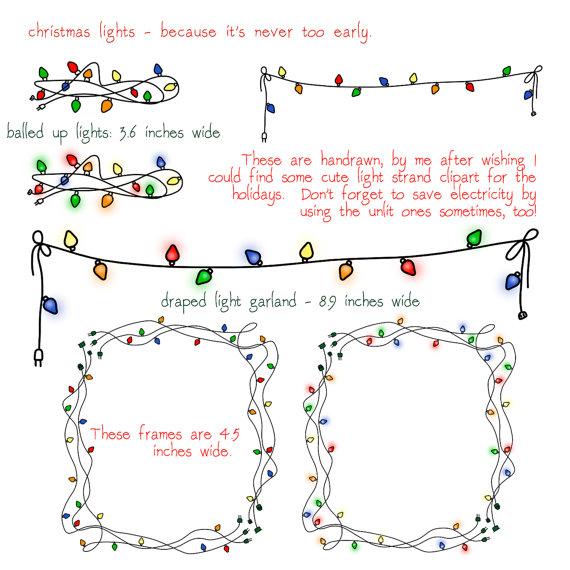 Christmas Lights Clip Art, transparent background, frame, garland.
