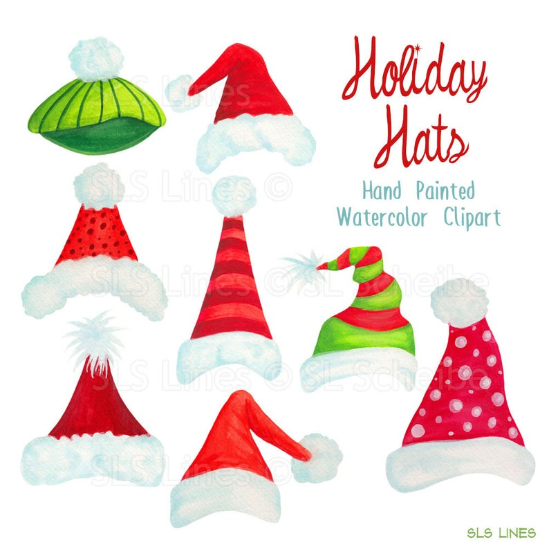 Santa hat clipart, Christmas holiday hats graphics, handpainted watercolor  Christmas clipart, xmas hat art by SLS Lines.