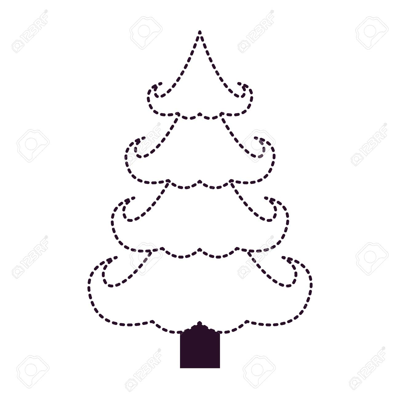 Christmas tree on dotted line, black and white, silhouette illustration.