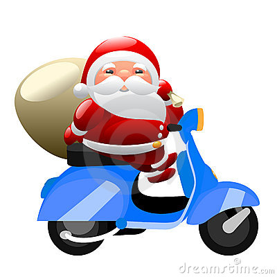 Father Christmas Motorcycle Stock Illustrations.