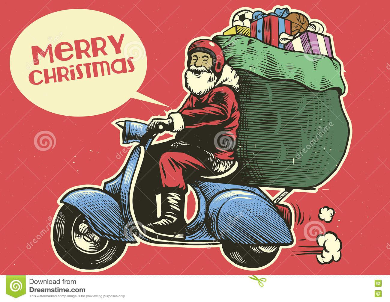 Santa Motorcycle Stock Illustrations.