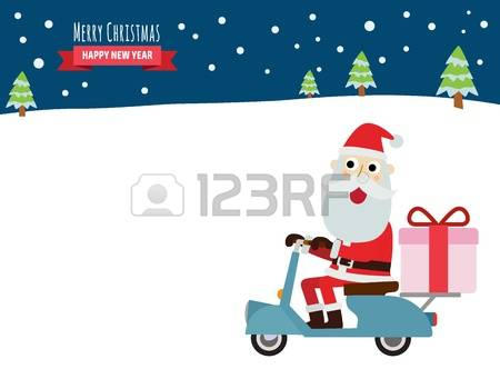 168 Santa On Scooter Stock Vector Illustration And Royalty Free.