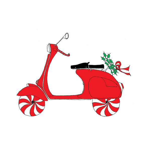 Vespa Scooter Christmas Holiday Card set of 8 by rachelink, $12.00.