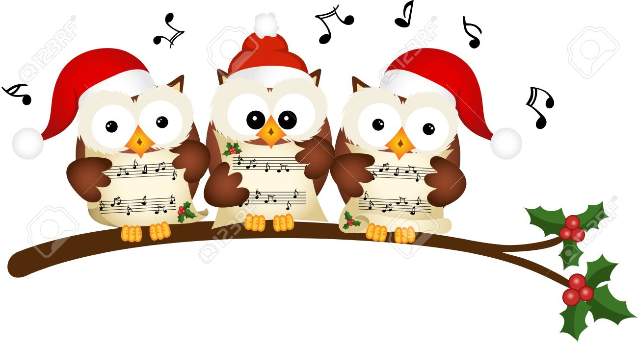 Christmas owls choir singing.