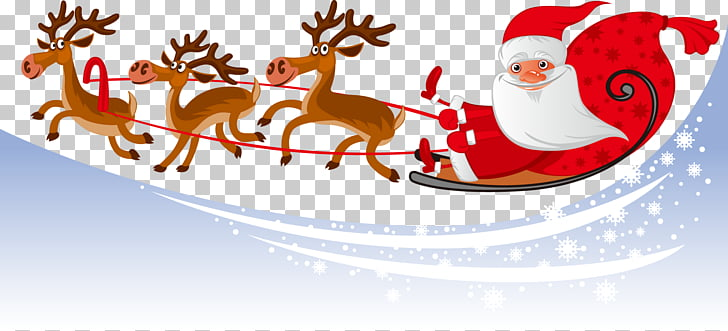 Santa Claus parade New Year\'s Eve December, Christmas snow.