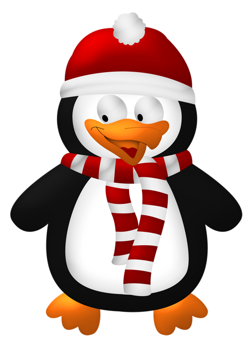 Cute Christmas Penguin Transparent PNG Clipart.