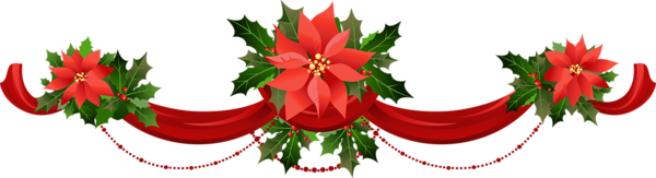 Transparent Christmas Garland with Poinsettias PNG Clipart.