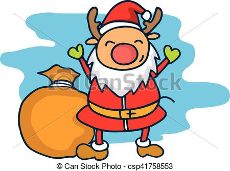 Clipart Vector of Reindeer child in Christmas red hat vector art.
