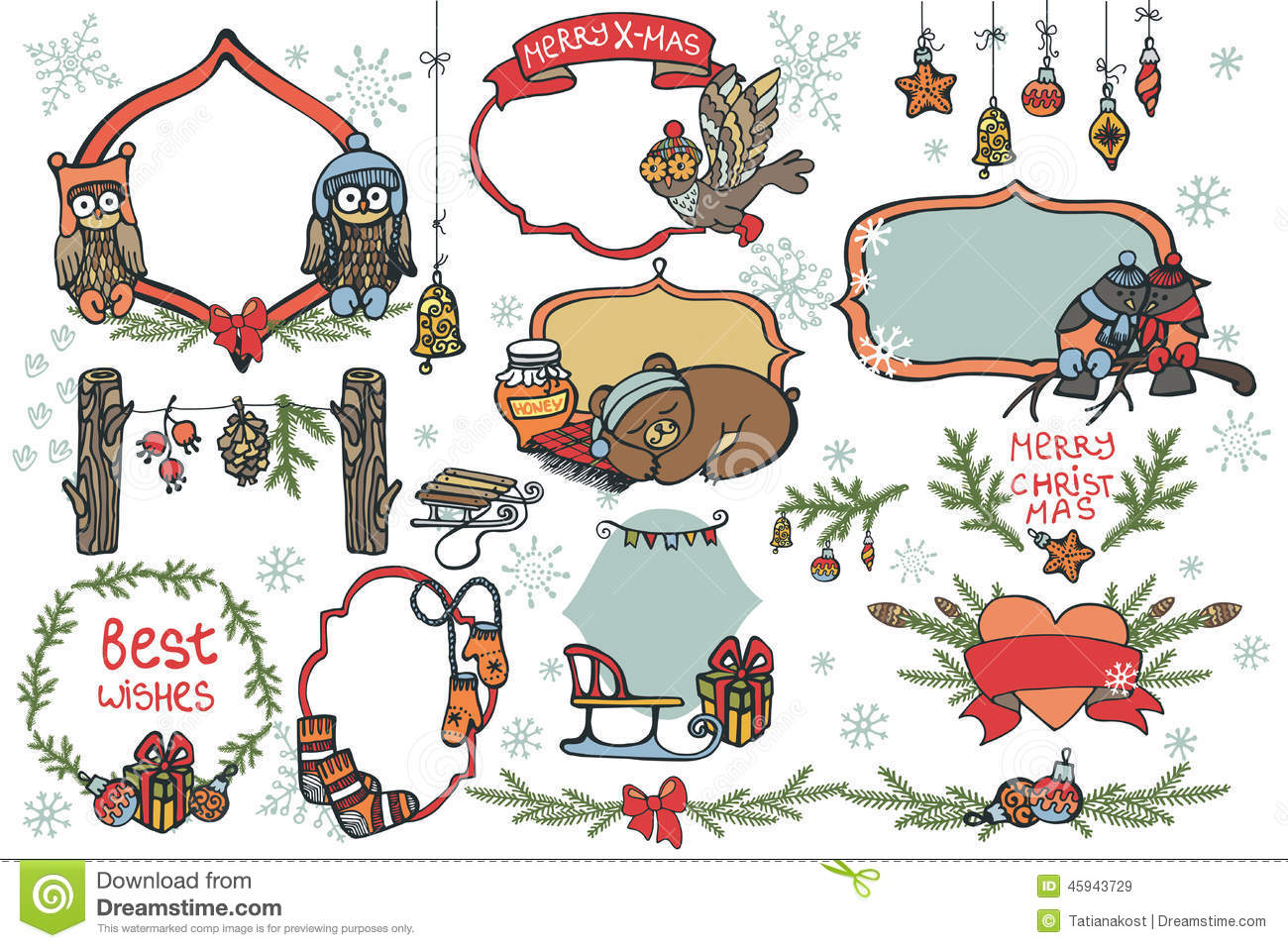 Christmas Graphic Elements,animals Set Stock Vector.