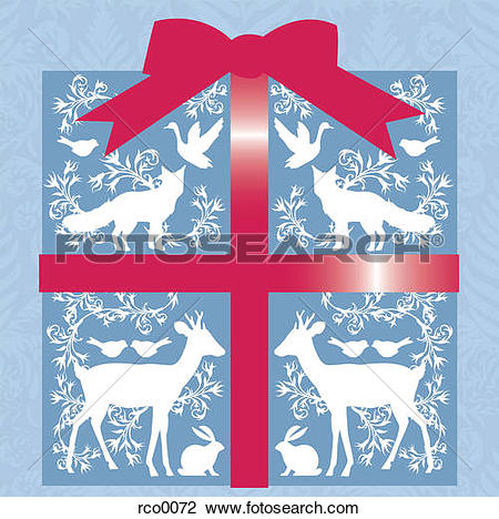 Clip Art of A present wrapped in paper with animal silhouettes and.
