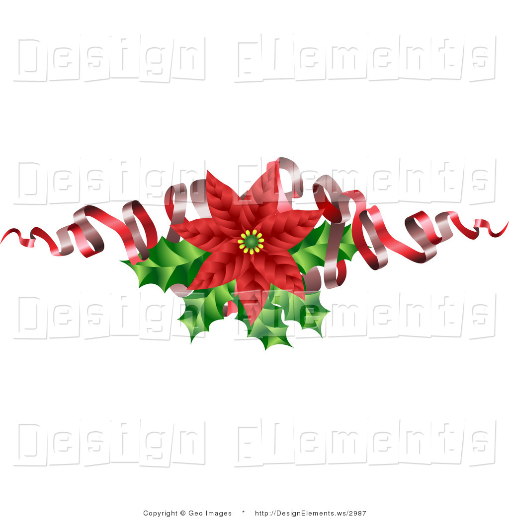 Clipart Christmas Flower And Ribbon On Animal Head.