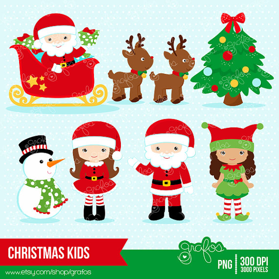 CHRISTMAS KIDS Digital Clipart, Christmas Clipart, Santa Claus.