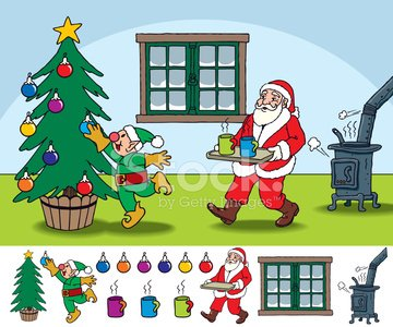 Christmas Scene with Santa Claus and Elf Clipart Image.