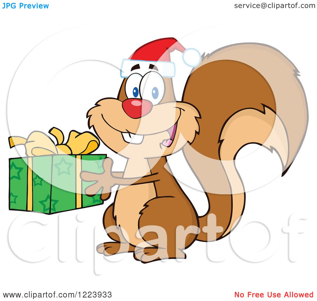Clipart of a Cute Christmas Squirrel Holding a Present.