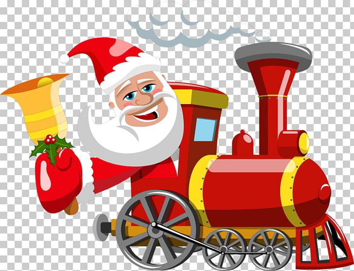 Santa Claus Train Gift Christmas , santa claus PNG clipart.