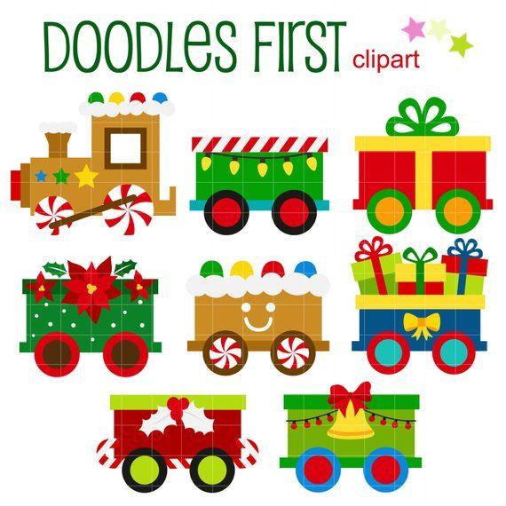 Christmas Trains Digital Clip Art for Scrapbooking Card.