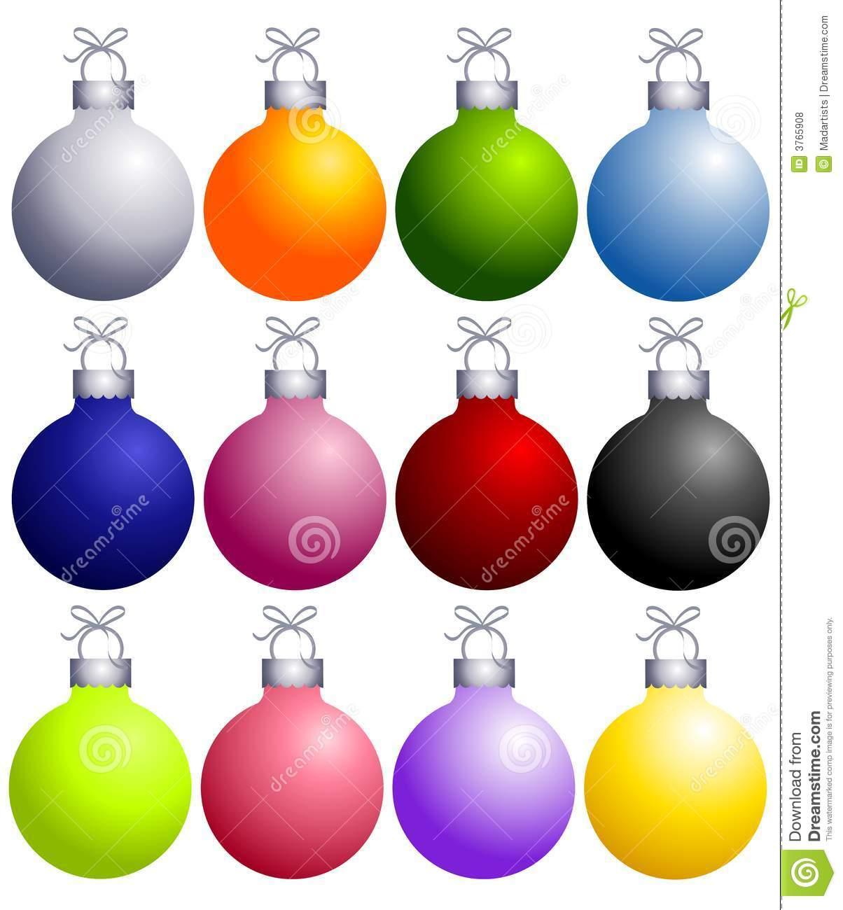 Colorful Christmas Ornaments Collection Stock Illustration.