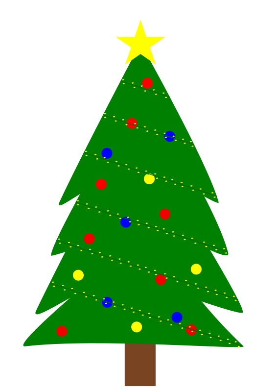 Free Clipart: Christmas tree with lights.