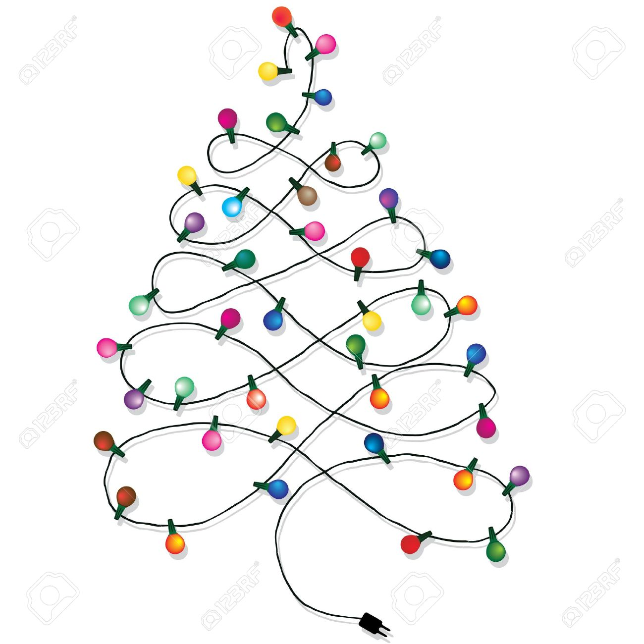 Christmas Tree And Lights Clipart.