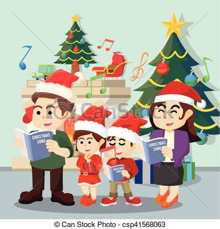 Clip Art Vector of family singing christmas carol csp41568063.