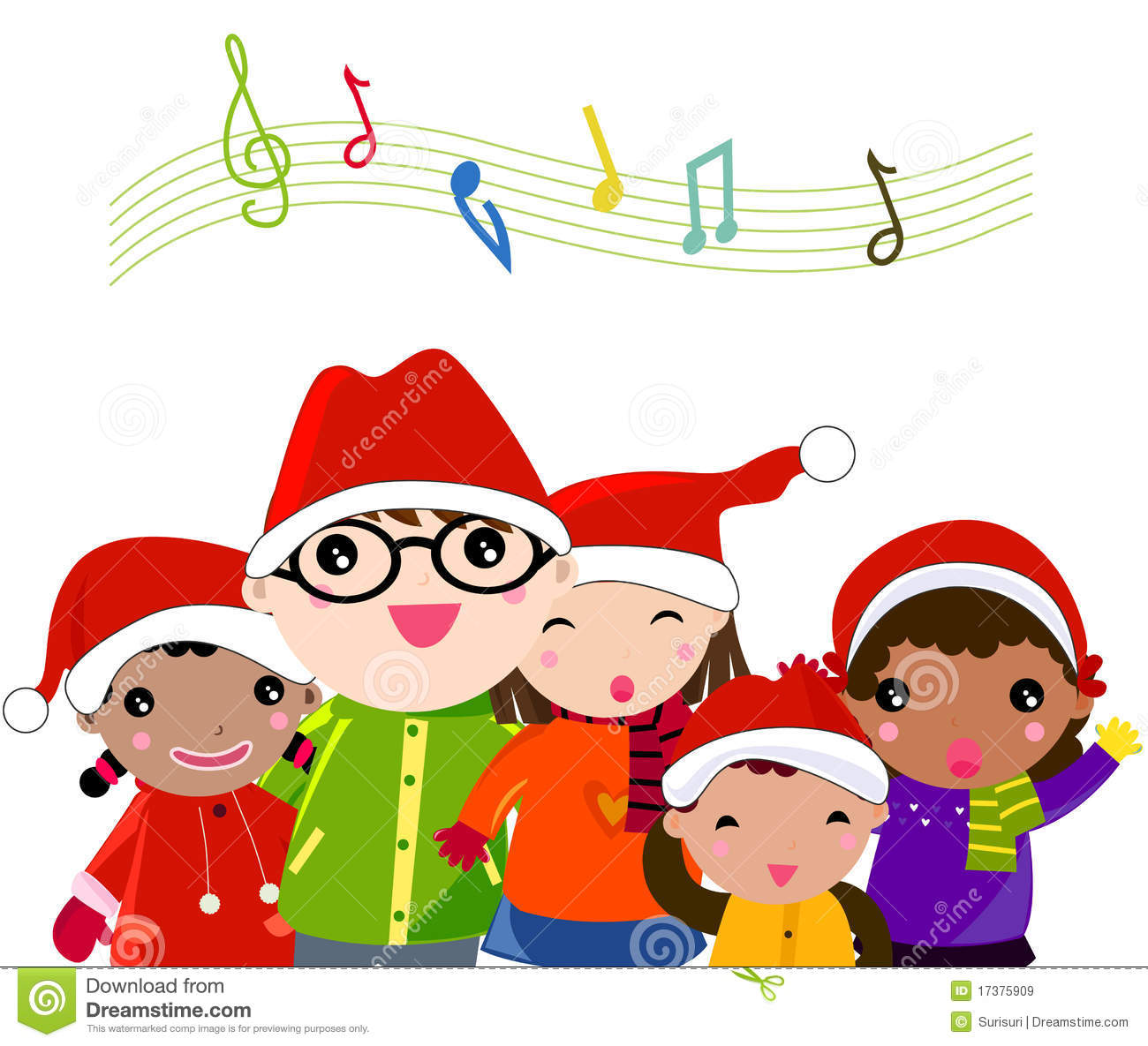 Clipart Christmas Trees Singing Christmas Carols.