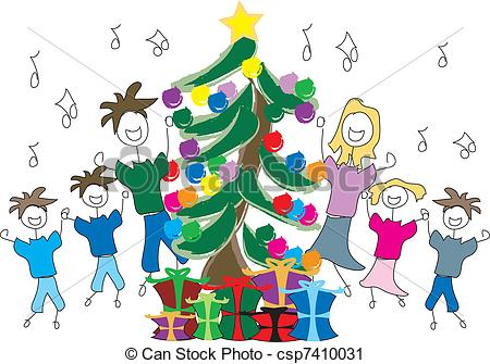 Clip Art of Singing Christmas tree.