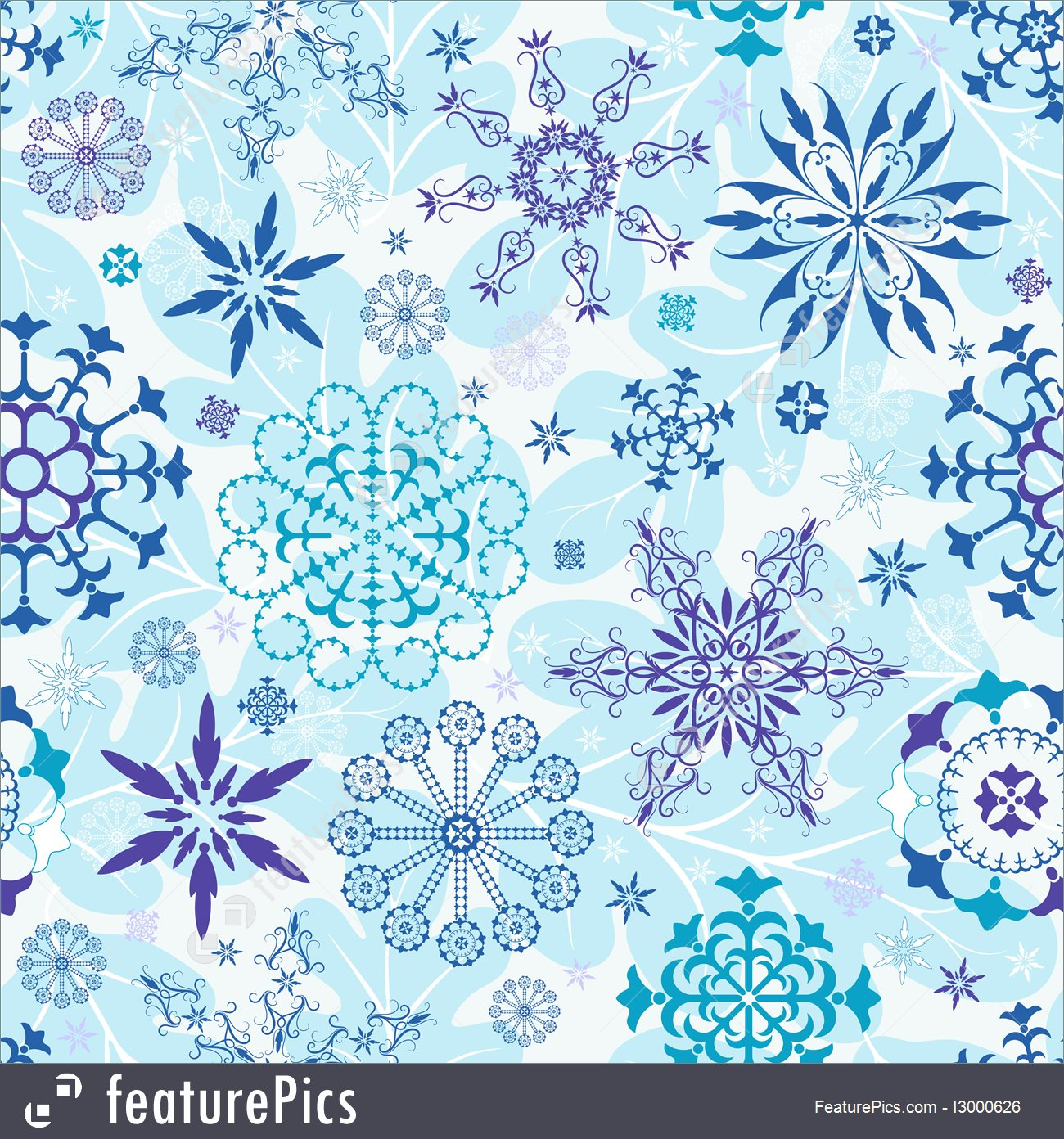 Seamless Blue And Violet And White Christmas Wallpaper.