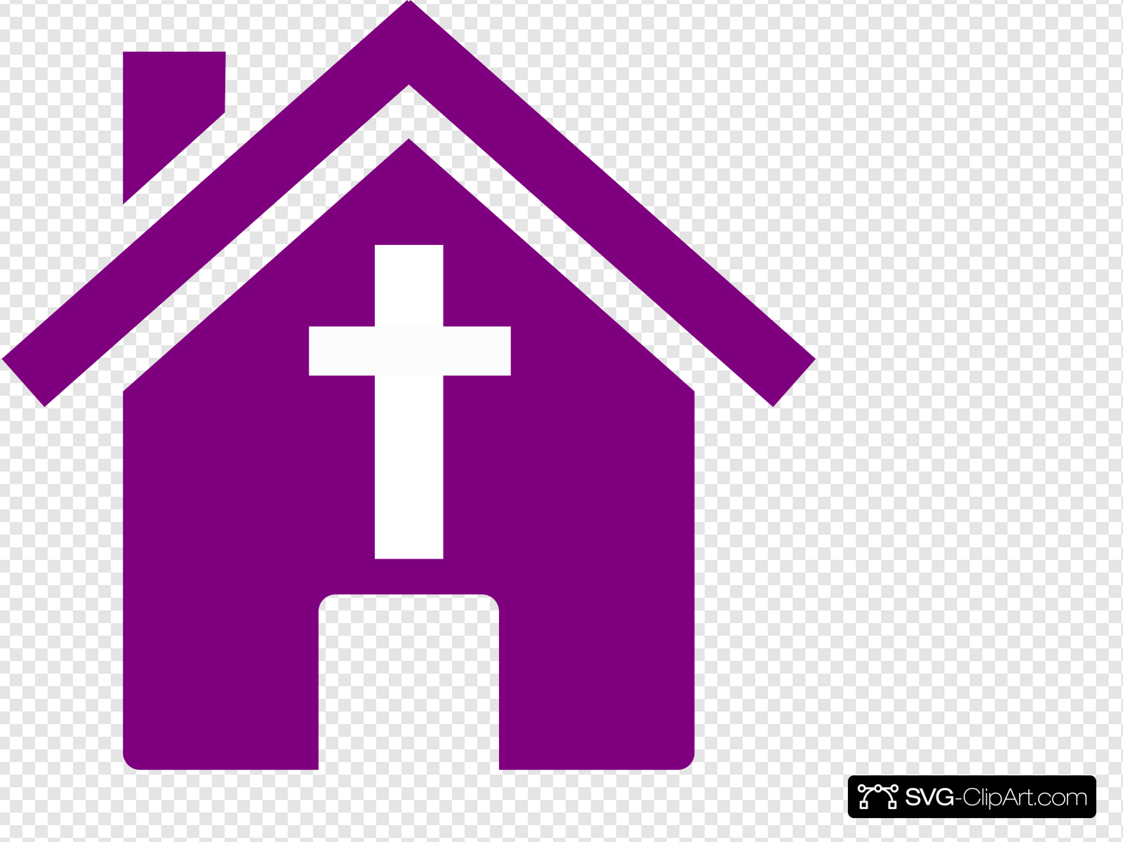 Purple Church House Clip art, Icon and SVG.