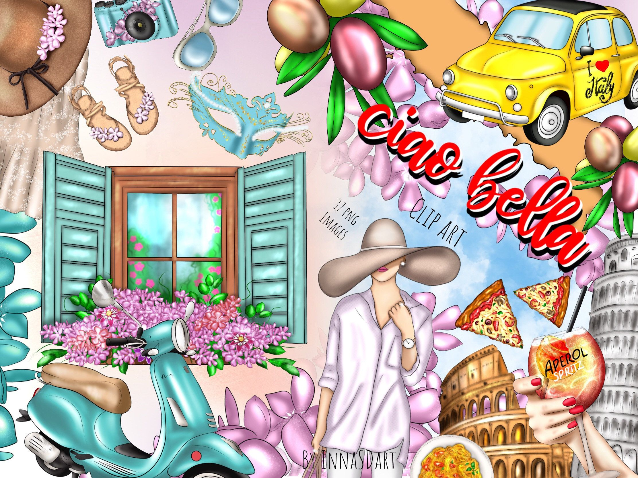 Ciao Bella clipart, Italy clipart, Rome, Planner clipart, Travel.