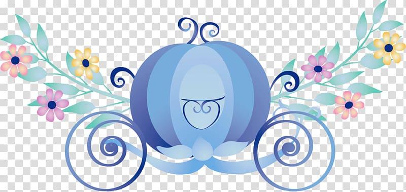 Blue carriage illustration, Cinderella Carriage Sticker.