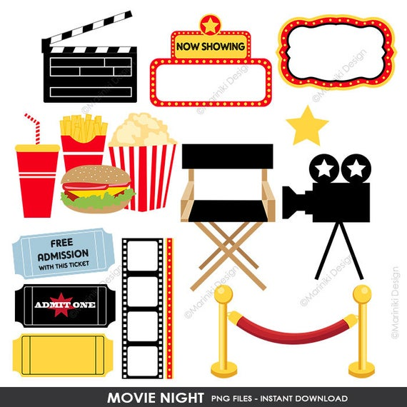 Movie Night Clipart, Cinema Clip Art, Film Theatre Award Graphics for  Birthday Invitations Scrapbook INSTANT DOWNLOAD CLIPARTS C57.