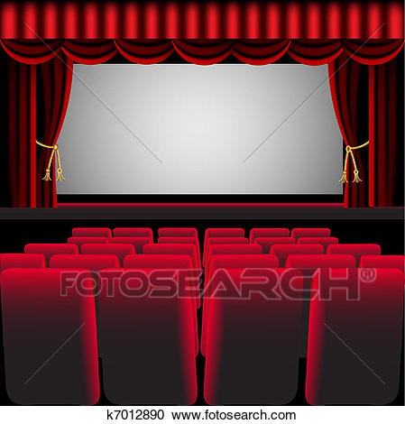cinema hall with red curtain and easy chair Clipart.