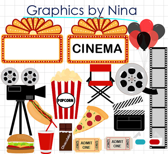 INSTANT DOWLOAD Movie Night clipart Cinema Clipart Scrapbook for.