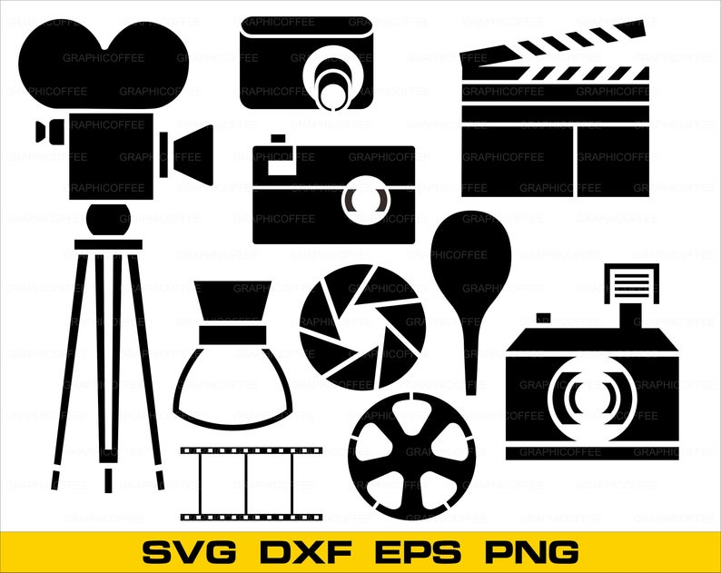 Cinema SVG Bundle, Cinema SVG, Clipart, Cinema Cut Files For Silhouette,  Cinema Vector, Svg, Dxf, Png, Eps, Jpeg. illusration.