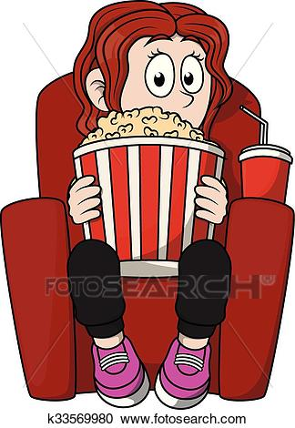 Clipart Of Girl Watching Cinema K33569980 #248252.