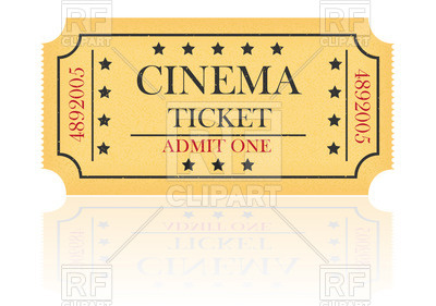 Yellow cinema ticket Vector Image #24852.