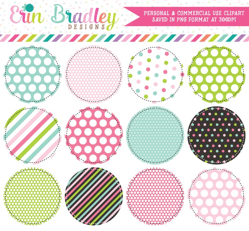 Commercial Use Clipart Circles, Rainbow Circles Clipart Frames, Digital  Labels Clip Art, Striped & Polka Dotted Patterns.