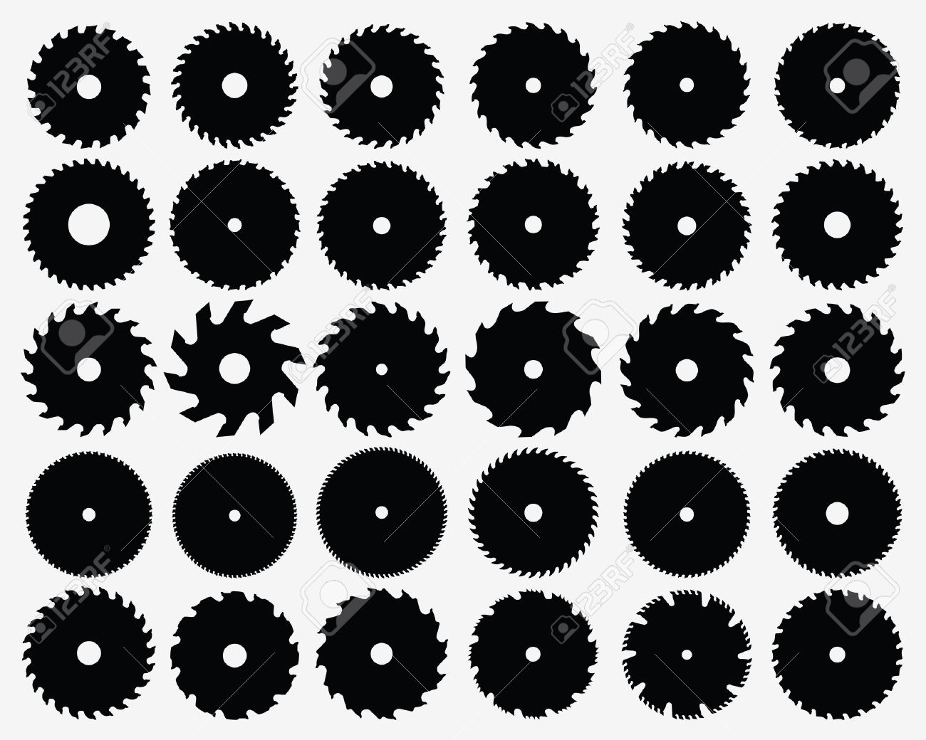 Set Of Different Circular Saw Blades, Vector Royalty Free Cliparts.
