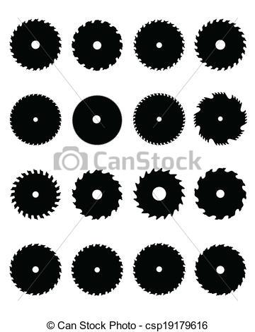 Vector Clip Art of circular saw blades.