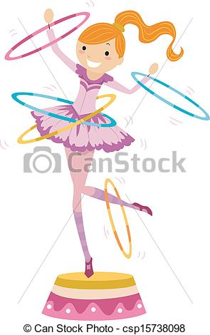 Clipart Vector of Young woman perform a circus stunt. Flappers.