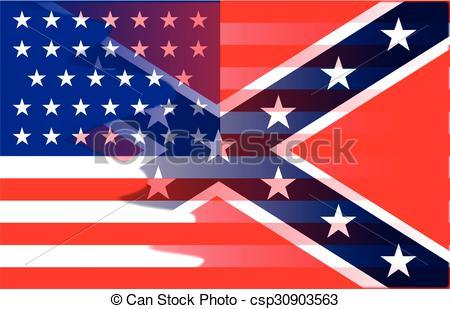 Clipart Vector of Confederate Civil War Flag.